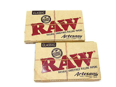 RAW Classic Artesano Rolling Papers- Natural- 2 Packs- 50 leaves 1 1/4 Tips Tray
