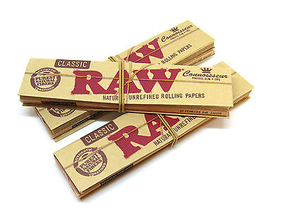 RAW Classic King Size Slim Connoisseur Rolling Papers - 3 Packs- 32 leaves Tips
