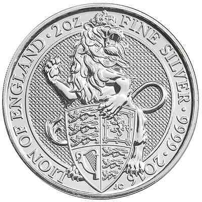 2016 U.K. 5 Pound Silver Queen's Beast Lion .9999 2 oz Brilliant Uncirculated