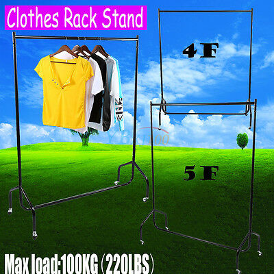 Portable Heavy Duty Rail 4 5FT Clothes Garment Dress Hanging Display Stand Rack
