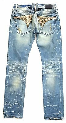 Robin's Jean Embellished 4D Broken Jean Blue/gold/red 100% Authentic Made In Usa