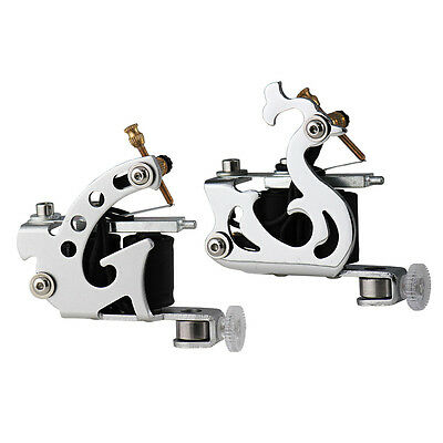 2x Starter Tattoo Machine Gun Dual 10-Wrap Coils Supply Liner & Shader Chrome