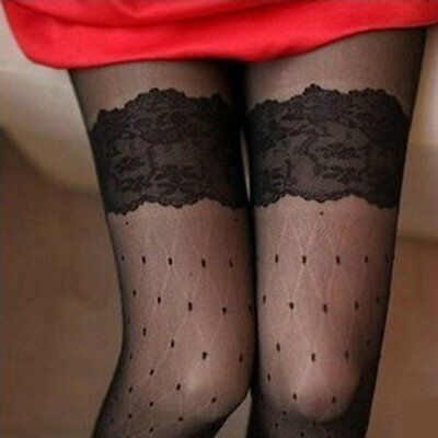 WD Lady Girl Thigh High Stockings Socks Hold Ups Stay Up Tights Lace Dots Sex