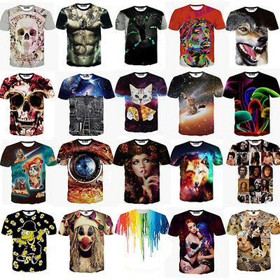 Womens Mens 3D Big Bone Printed T-Shirt Funny Short Sleeve Tee Tops Hip Hop Slim