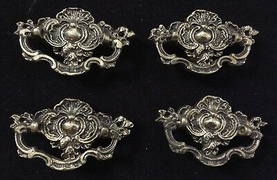 4 vintage fancy brass pulls drawer hardware cabinet chest made Japan 3""