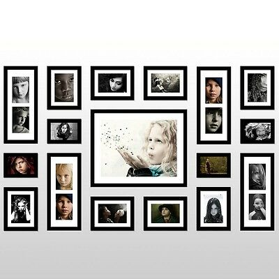 Black Multi Picture Photo Frame 17 Pieces Set Wall Frames Set Collage Family New