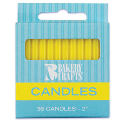 Plain 36 Pieces -  Birthday Candles - Yellow - 2 High