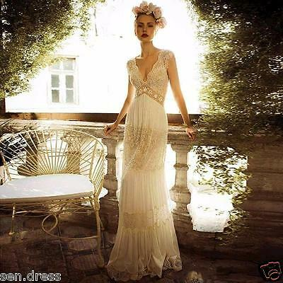 Vintage Lace Wedding Dress White Ivory Sheath Bridal Gown Custom Size 8 10 12+