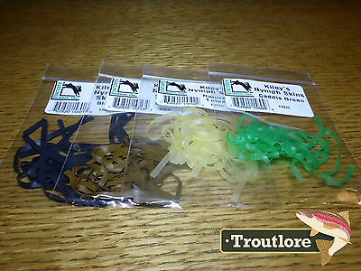 4 Pack Kiley's Nymph Skins Combo Hareline Dubbin - New Fly Tying Body Material