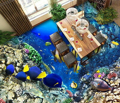 Colorful Fish Coral Rock Reef  Floor Decals 3D Wallpaper Wall Mural