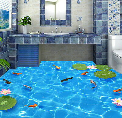 Clear Water Fish Lotus  Floor Decals 3D Wallpaper Wall Mural Stickers