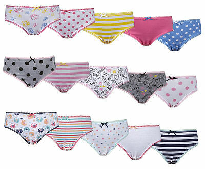 Girls Multi 5 Pack 100% Cotton Pants, Briefs Knickers Underwear Ages 2-6 Years