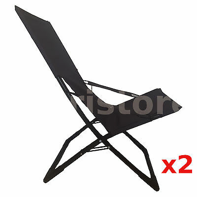 2 Folding Camping Chairs Camp Outdoor Deck Reclining Beach Chair Lounge Foldable