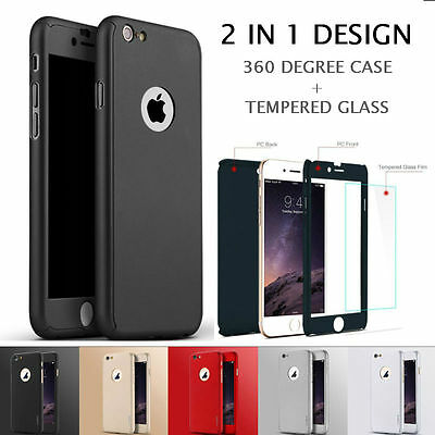 360° Full Body Case + Tempered Glass Screen Protector Cover For iPhone 6S 6 Plus