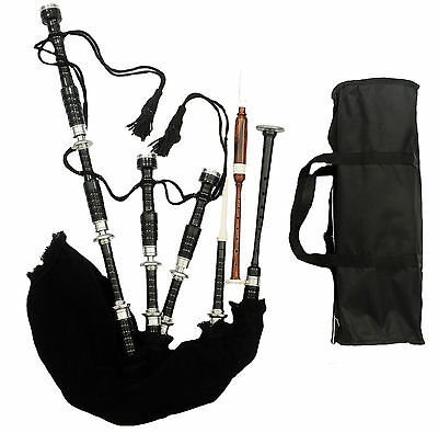 New Great Highland Bagpipe Black Silver /Highland Bagpipe Rosewood Black  Reeds