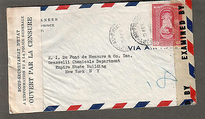 WWII US examiner 4613 Miami & Haiti censor tape cover Port Au Prince to US