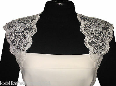 Womens Ivory/white Lace wedding Bolero Jacket Size UK 8 -22 by Lowlita Design