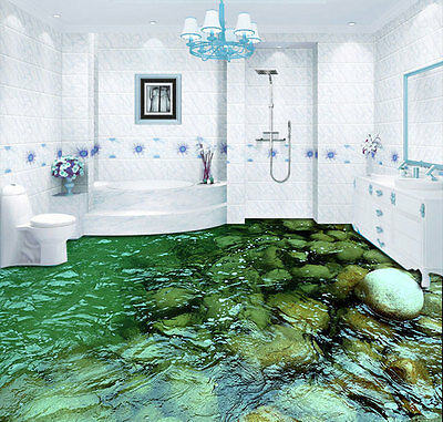 Clear Water Stream Stone Floor Decals 3D Wallpaper Wall Mural Stickers Print