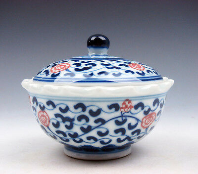 Porcelain Blue&White Ox-Blood Red Floral Painted Tea Cup Tea Ceremony #05181603