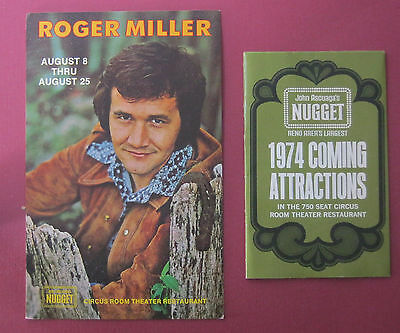 Roger Miller Postcard and John Ascuagas Nugget Casino 1974 Schedual vtg Reno NV