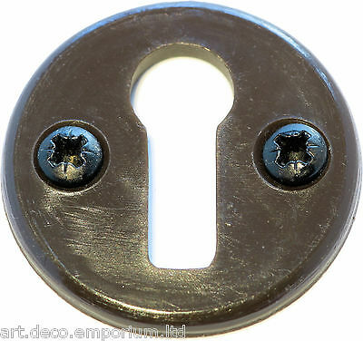 Antique Vintage Bakelite Keyhole Escutcheon Plate 1930's Art Deco with Screws