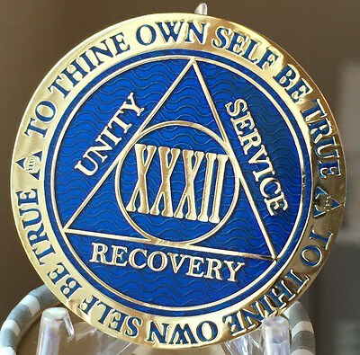 32 Year AA Medallion Blue Gold Plated Alcoholics Anonymous Sobriety Chip Coin