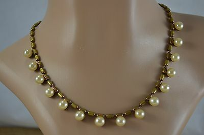 VINTAGE 1940s brass chain necklace with faux imitation pearls