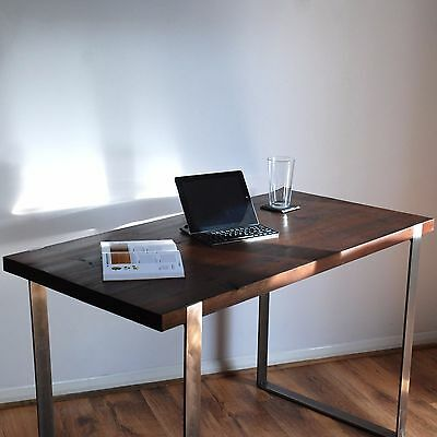 Industrial Solid Steel Wood Desk - Modern Rustic Vintage