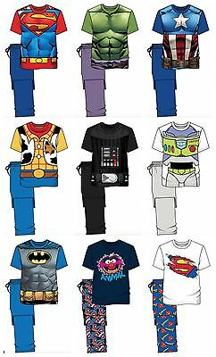 Mens Character Pyjamas Nightwear Loungewear PJ's Top and Bottoms S M L XL