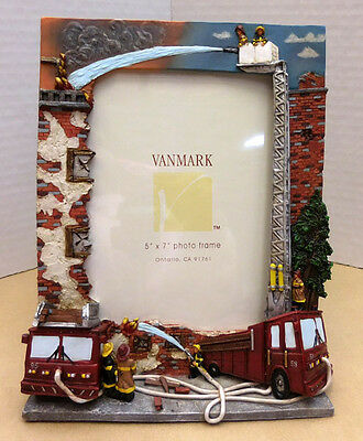 """Firefighter Photo Frame """"fire Fighting Fury"""" Vanmark Red Hats, Item 88188"""
