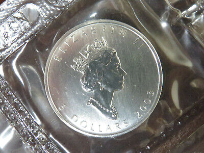 2003 SILVER MAPLE LEAF $5 CANADIAN CANADA COIN 1 oz MYLAR POUCH SEALED