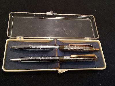 Vintage EVERGLIDE Pen and Pencil Set in original box with NJ Advertising