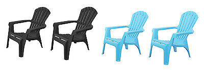 Set Of 2 Adirondack Style Plastic Dolomiti Garden Patio Chairs Lounger Chair
