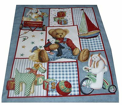 Blue Jean Teddy  and Toys cot quilt