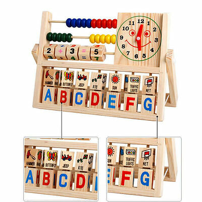 Kids Counting Number Maths Learning Versatile Abacus Clock Children Wooden Toys