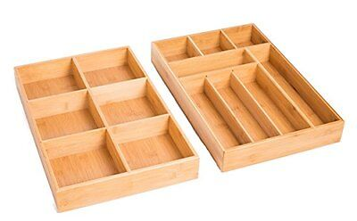 BirdRock Home 2 pc Bamboo Drawer Organizer