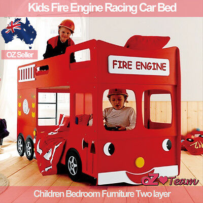 Kids bunk beds Fire Engine Racing Car Bed Children Bedroom Furniture Two layer