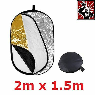 5-in-1 Collapsible Light Reflector Disc Kit 2m x 1.5m Portable Studio 5in1