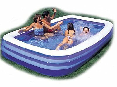 Large Jumbo Deluxe Rectangular Inflatable Family Swimming Paddling Pool with Fun