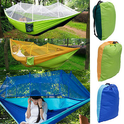 Double Hammock Tree 2 People Patio Person Bed Swing Outdoor with Mosquito Net