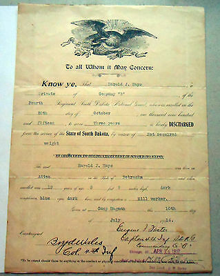 South Dakota Discharge Document Signed By Boyd Wales, Commanded 4th Regt. SD NG