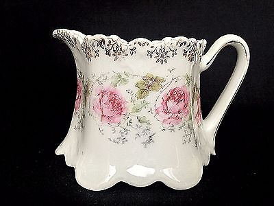 "Vintage Porcelain China Creamer Pitcher Pink Floral Gold Decal 3"" Tall"
