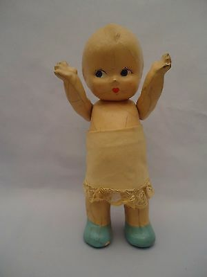 """40's Antique Vintage Eugenia Doll Composition 7"""" Blue Painted Shoes Jointed Arms"""
