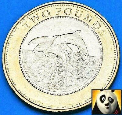 2015 Gibraltar £2 Two Pound Dolphins Good Reasonable Circulated Dolphin Coin