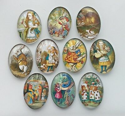 10 Alice in Wonderland Glass Cabochons Oval 25mm x 18mm Crafts Jewellery Making