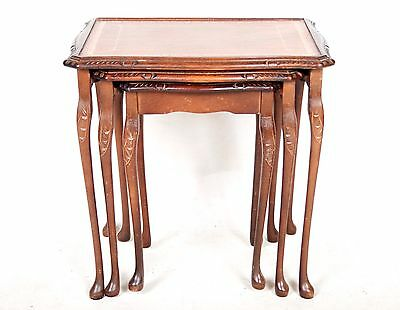 Antique Vintage Nest Of Tables Leather Mahogany 3 Tuckaway Tea Tables Queen Anne