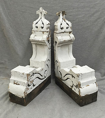 Antique Pair Wood Corbels Gingerbread Shabby Old Cottage Chic Vtg 1231-16