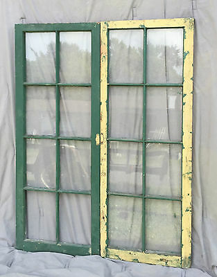 Pr Antique Casement Windows Pantry Cupboard Door Shabby Bookcase Vtg 1237-16