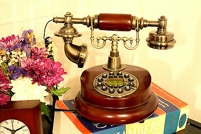 New Antique Home Desk Phone Wooden Button Dial Retro Vintage Corded Home Decor