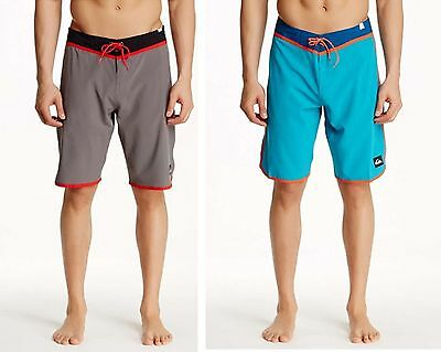 NEW mens quiksilver loc scallop board shorts boardshort blue gray $65 MSRP NWT